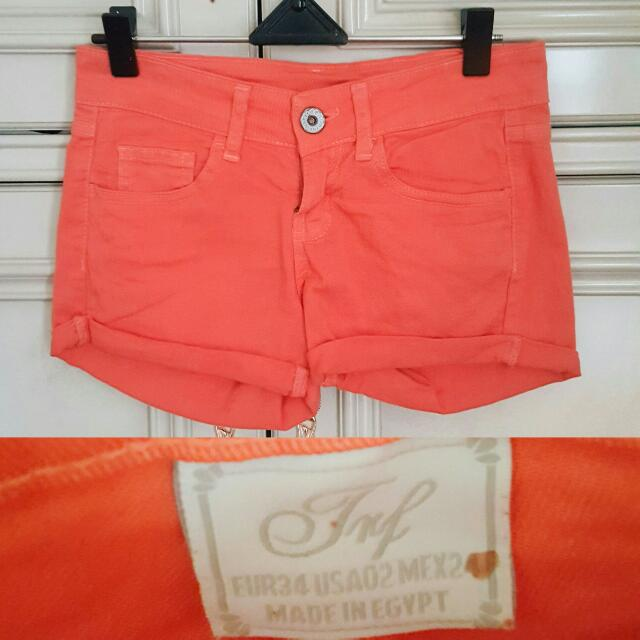 Authentic Zara TRF Orange Denim Shorts // Celana Pendek Wanita
