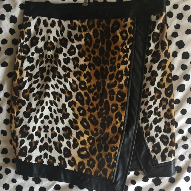 Bardot Leather/leopard Mini Skirt