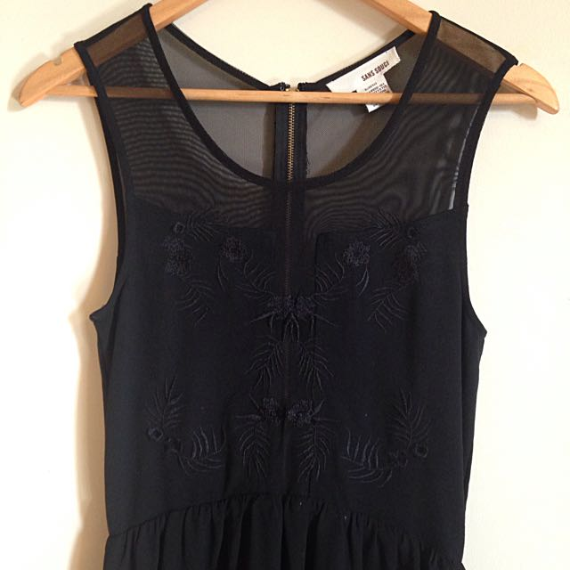 Black High-Low Chiffon/Mesh Dress