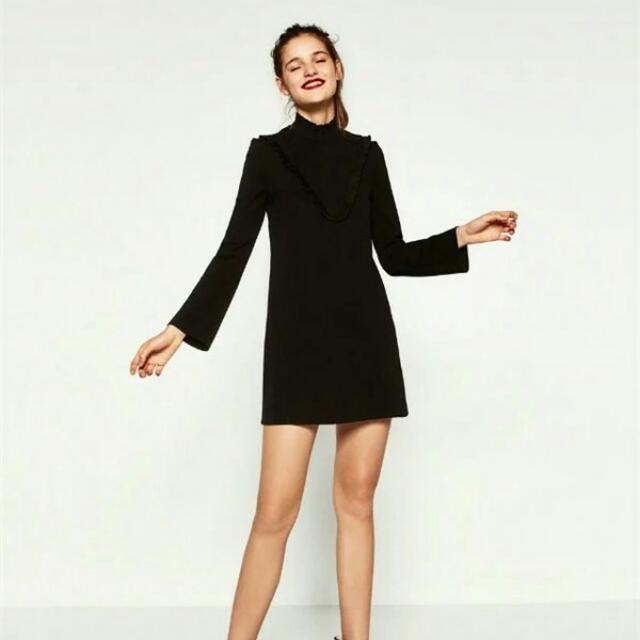 Black V Frill Dress