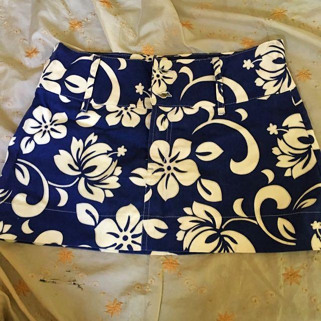 Blue Floral Mini Skirt