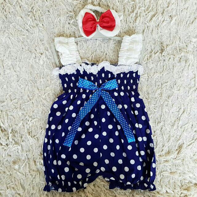 Blue Polkadot Baby Jumpsuit