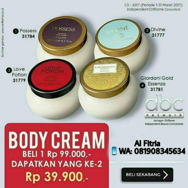Body Cream Giordani Gold