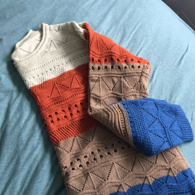 Colour-blocked Cable Knit Jumper