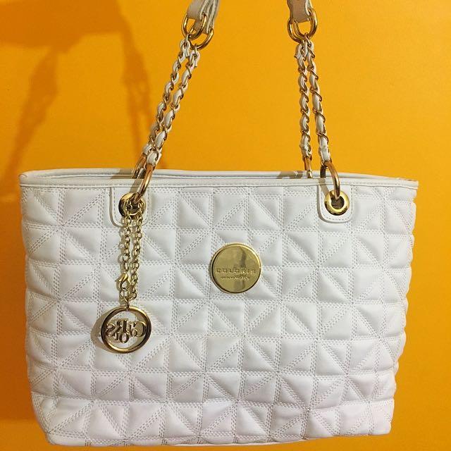 Colours White And Gold Handbag