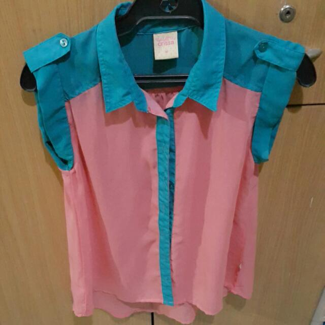 Crissa Pink/Teal See-through Top