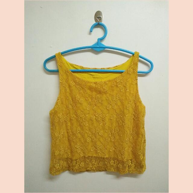 Crop Top Lacey Yellow