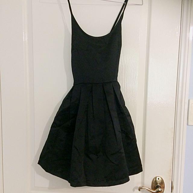 Cross Over Back Black Skater Dress