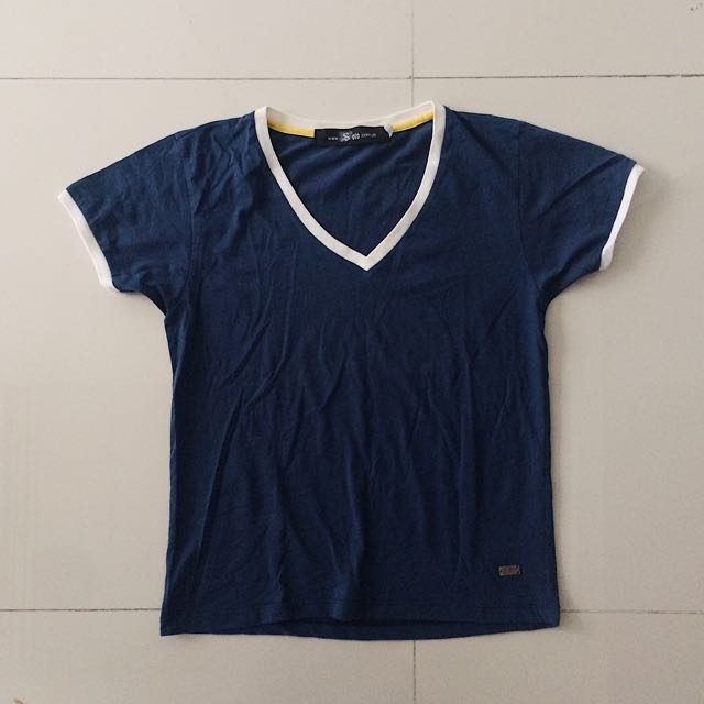 Dark Navy Blue Top With White Lining