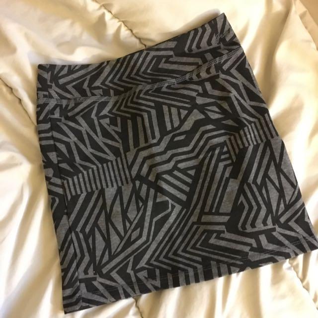 GARAGE Black & Grey Geometric Skirt