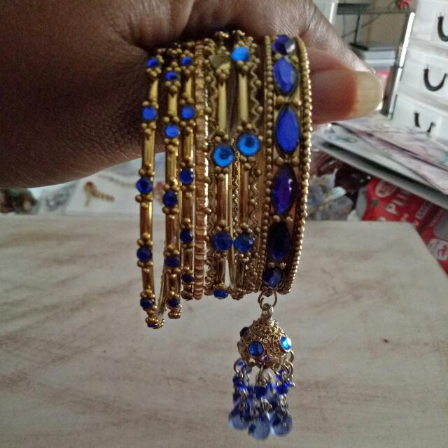 Gold and Blue Indian Vintage Bangle Set