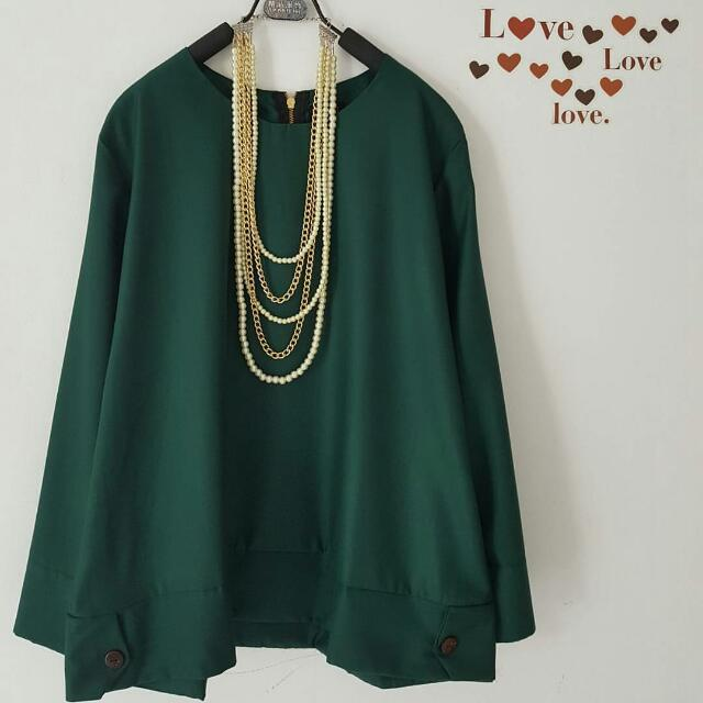 Green Blouse big size XL kecil