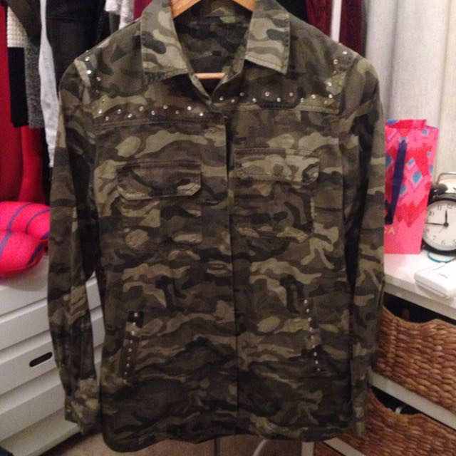 Hot Camouflage Diamanté Shirt One Size