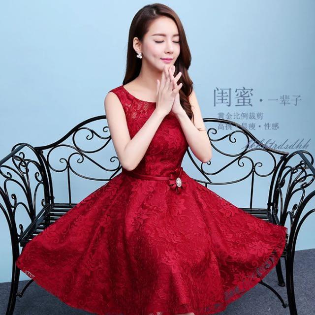 酒紅色雙肩綁帶蕾絲氣質小禮服(L)僅一件