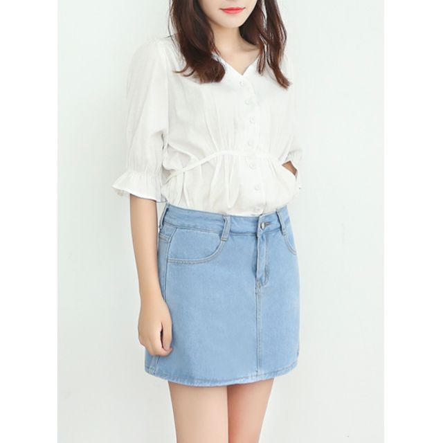 9fe4ad44f5fc25 Light blue denim A line skirt, Women's Fashion, Clothes, Pants, Jeans &  Shorts on Carousell