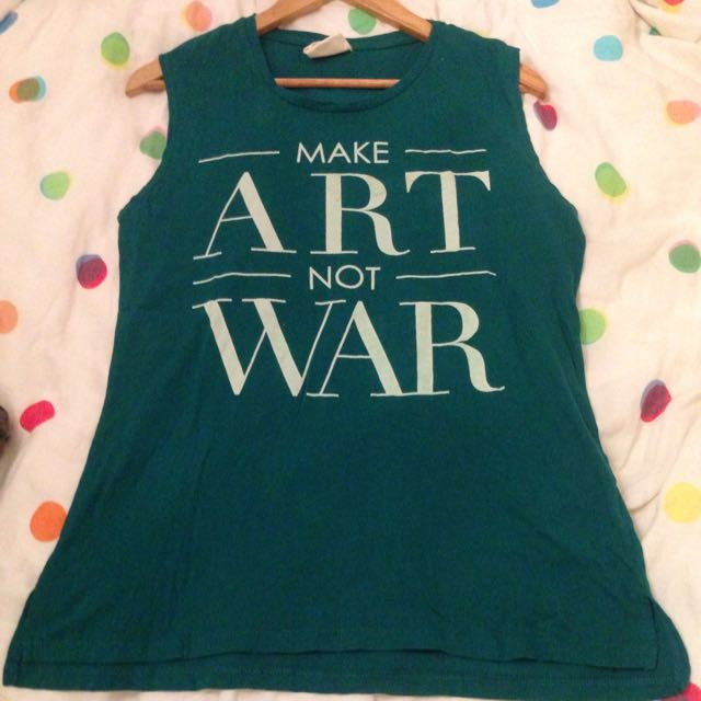 Make Art Not War Oversized Teal Singlet
