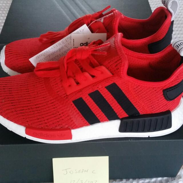NEW Retail Price Adidas NMD R1 Core Red and Core Black