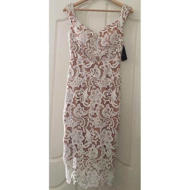 Nude White Lace Dress