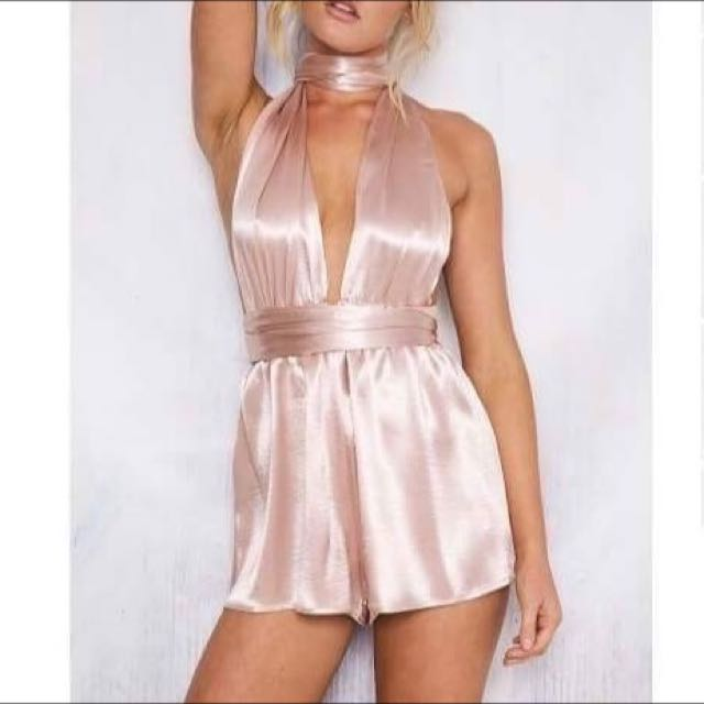 Pink Silk Playsuit