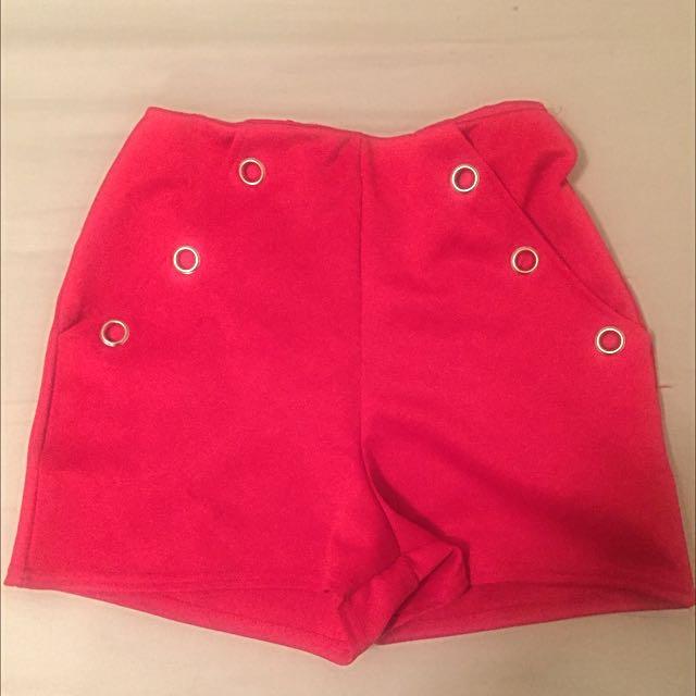 Red Boohoo High Waisted Hotpants/Shorts