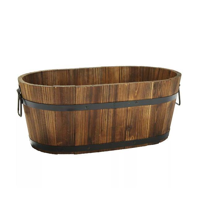 Rustic wooden barrel pot