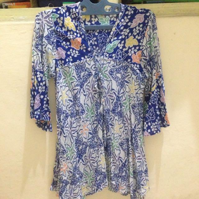 Saseti Blouse Blue Batik