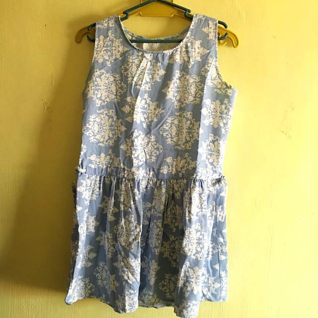 Sky Blue Printed Dress