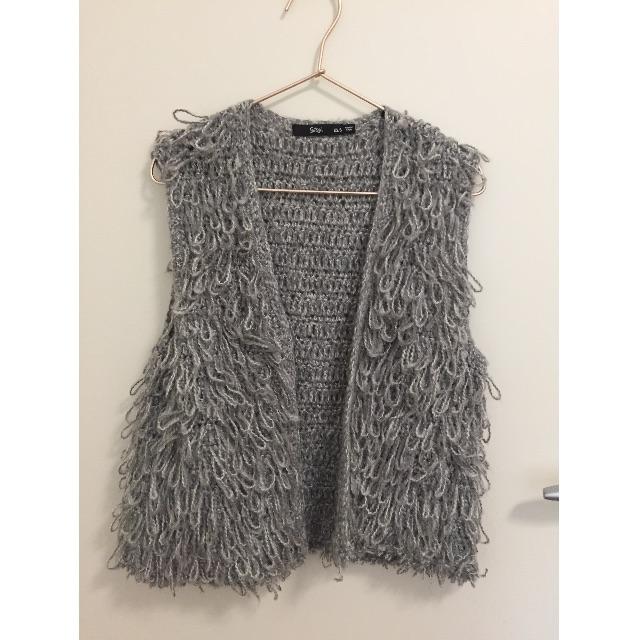 Sportsgirl Grey Fur Vest Size XS/S