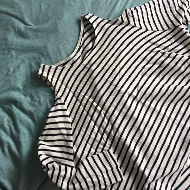 Striped Shoulder Cut-out Top