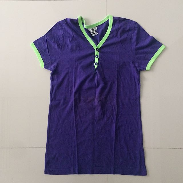 Topman Violet Top With Neon Green Lining