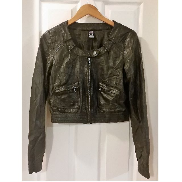 TRF by ZARA Black Cropped Motorcycle Jacket, Size Large