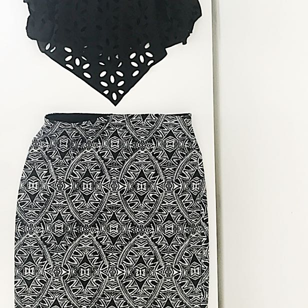 Tribal Patterned Pencil Skirt