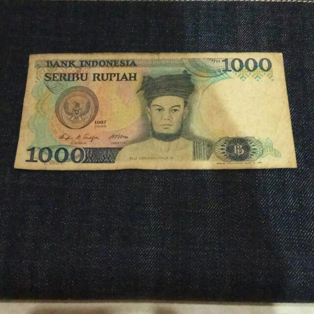 Uang Jadul Rp.1000 Thn 1987, Langka.