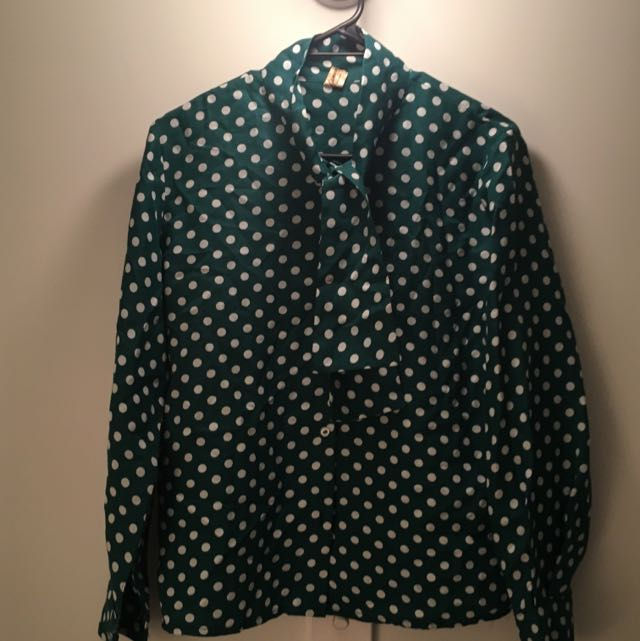Vintage Polka dot Tie Blouse #under20