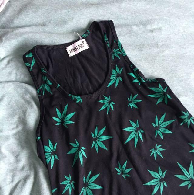 Weed Motif Maxi Dress