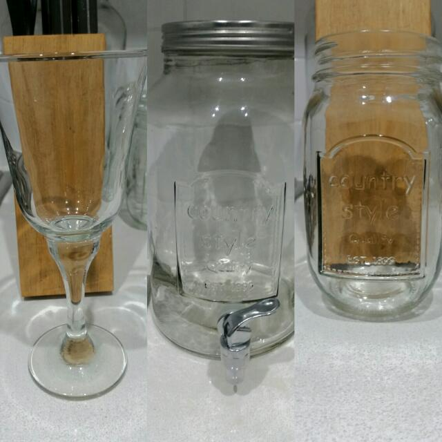 Wine Glasses And Country jar Set