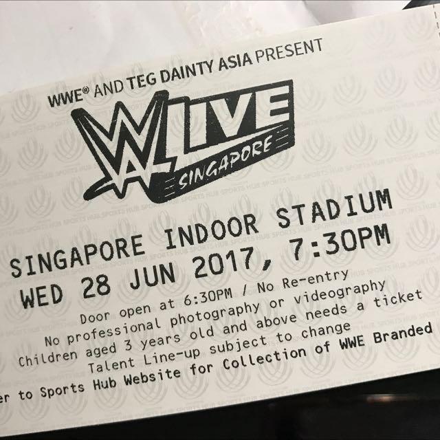 WWE Singapore Cat 1 Ringside Ticket Mattel