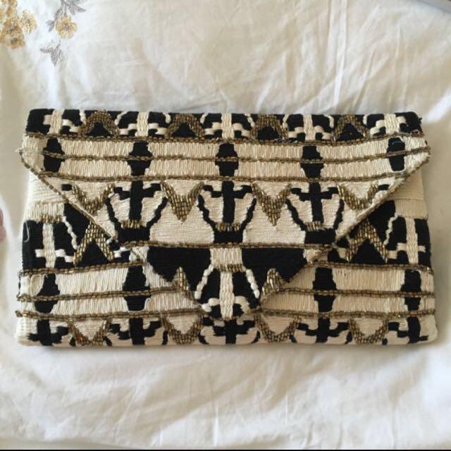 Zara Clutch Bag Purse Black White Gold