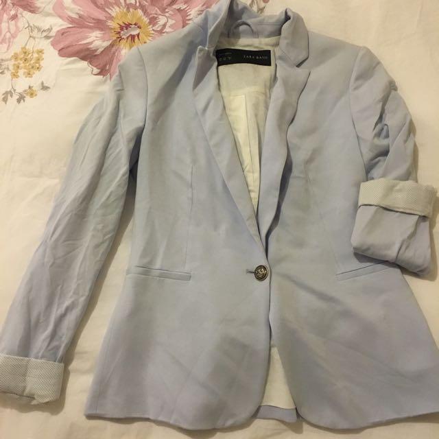Zara Light Blue Blazer Size xs