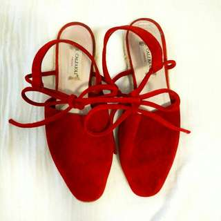 Italian Red Suede Espadrilles Size 8 Or 8.5