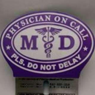 Purple MD Emblem,Plate, Doctor on Call Emblem