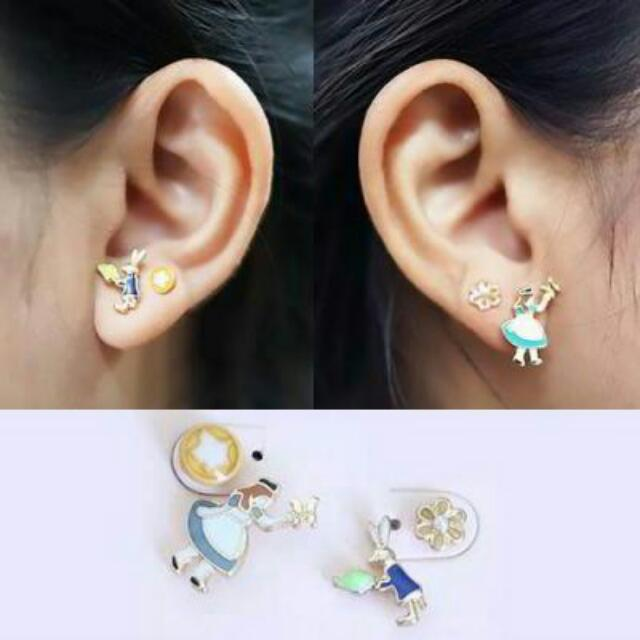 02755Fr  Fantasy Alice In Wonderland Earrings As Photo