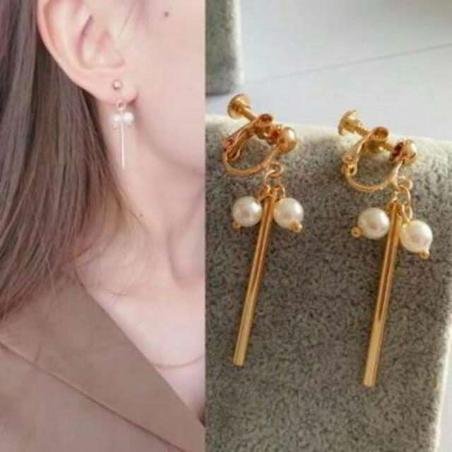 027575r  Pearl Long Ear Clip No Needle Gold Ear Clip