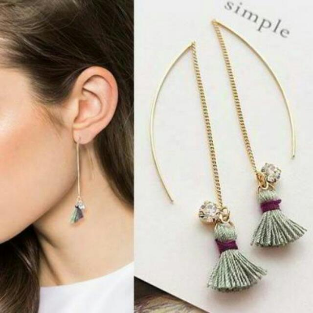 027741r  South Korean Long Chain Tassel Rhinestone Earrings Green
