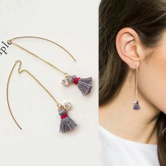 027742r  South Korean Long Chain Tassel Rhinestone Earrings Grey