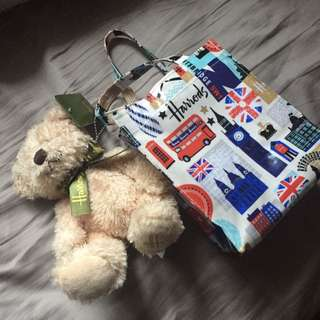 Harrods Bag With A Small Toy Bear