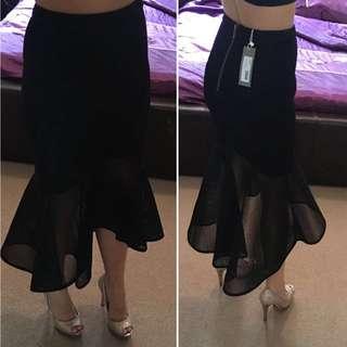 Sheike Black Sheer Skirt Sz 6 RRP $149.95