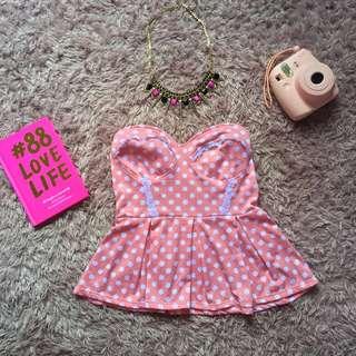Sweetheart Baby Pink Polkadot Peplum Top