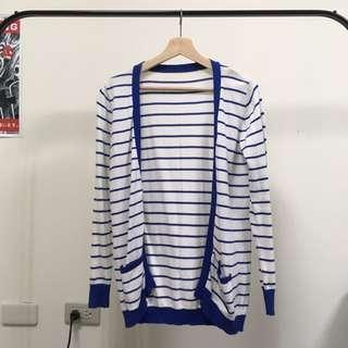 藍 條紋 針織 外套