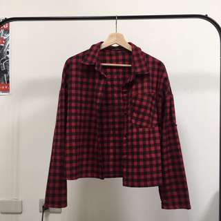 紅 格子 短版外套